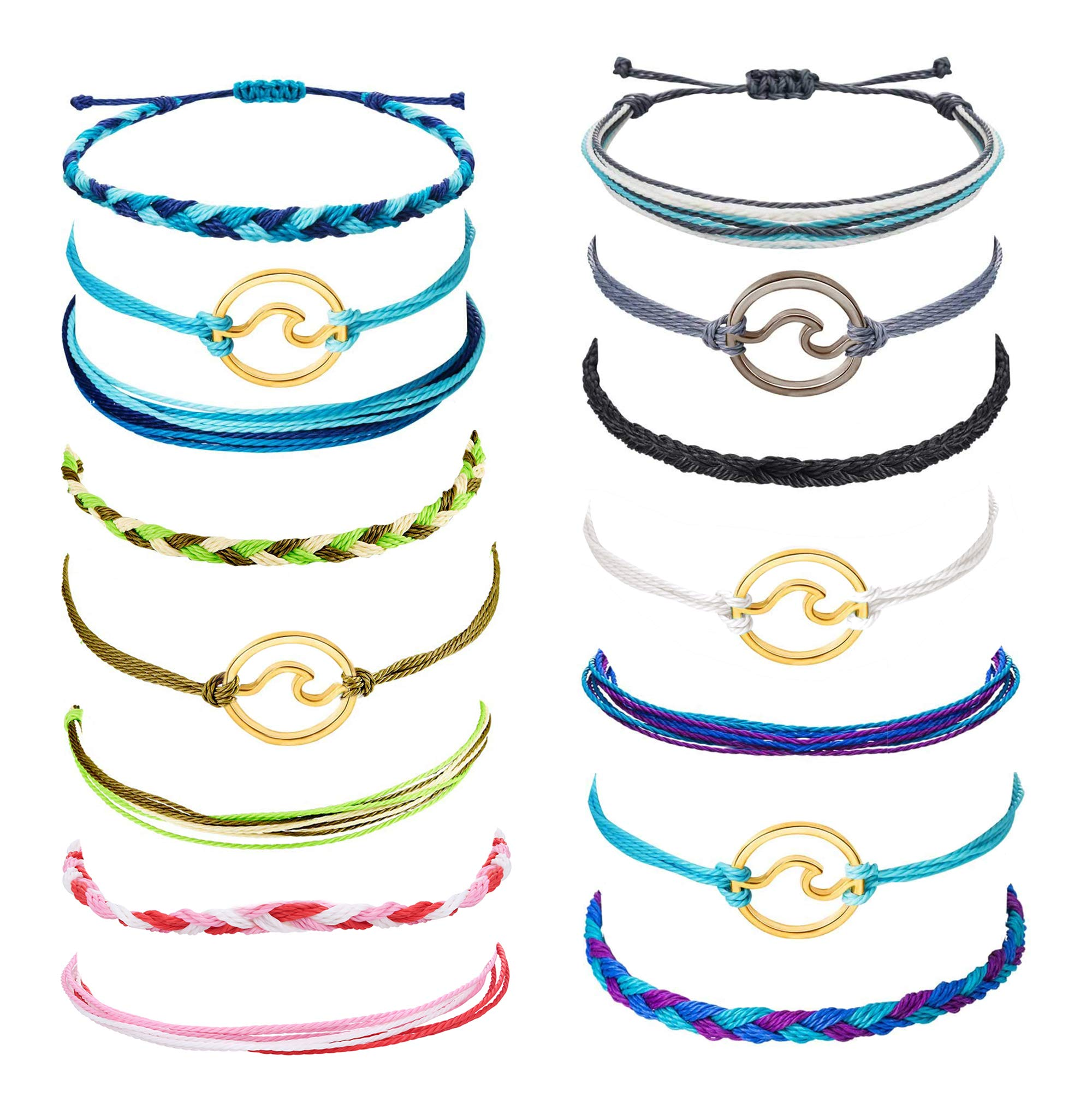 Jstyle 12-15Pcs Wave Strand Bracelet Set for Women Girls Colorful Handmade Friendship Braided Bracelet Wrap Adjustable Birthday Gifts by Jstyle