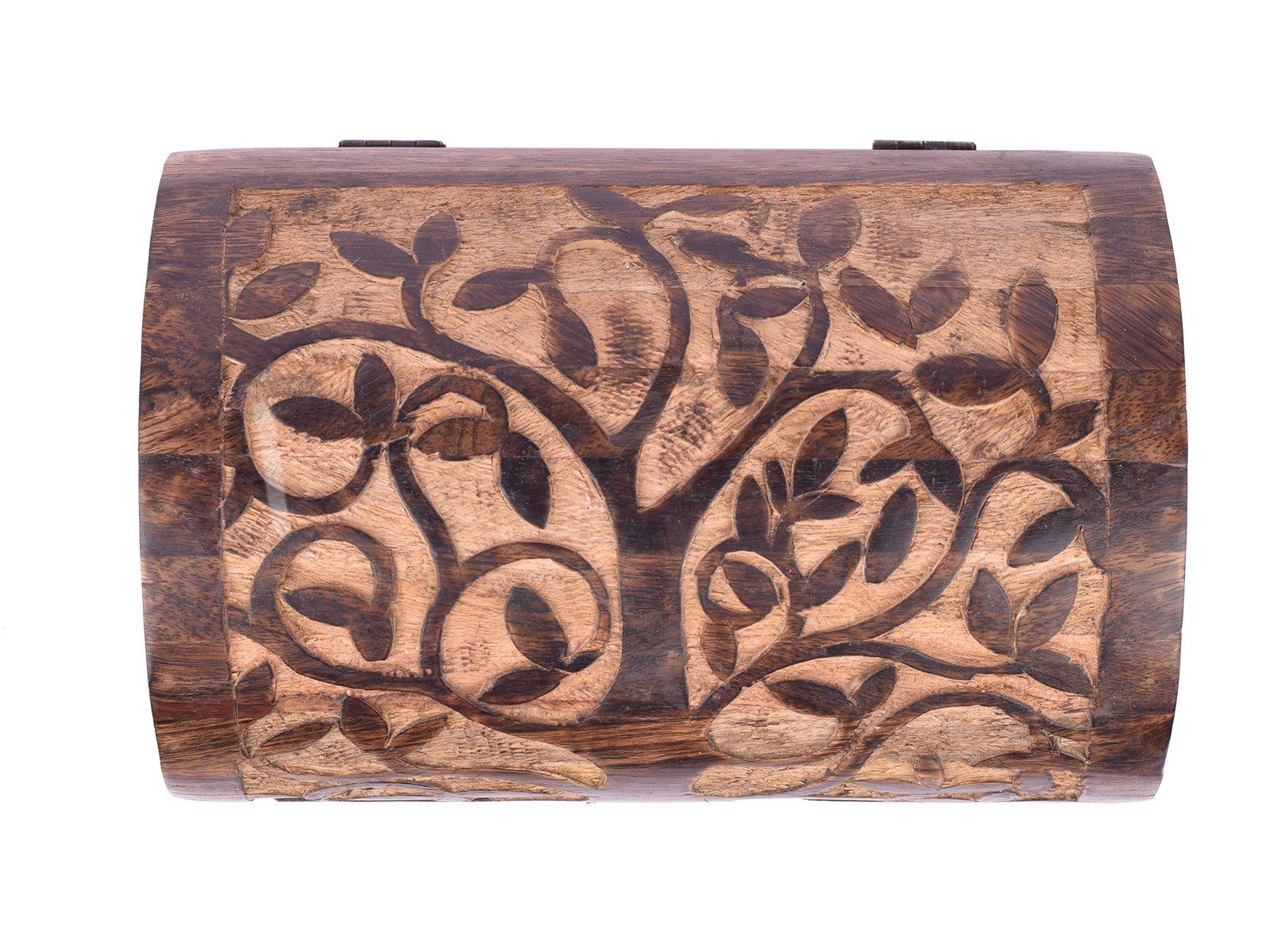 Large Wooden ''Tree of Life'' Chest Box Decorative Jewelry Trinket Holder Keepsake Storage Box Organizer Multi-utility 9 x 6 inches by storeindya (Image #3)