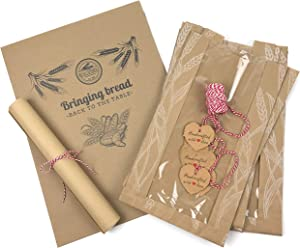 Bread Packaging Kit- Kraft Paper Bread Bags for Homemade Bread Gift Giving, Natural Unbleached Parchment Paper for Baking, Kraft Gift Tags Cotton Bakers Twine Gift Wrapping String – Red/White Pack