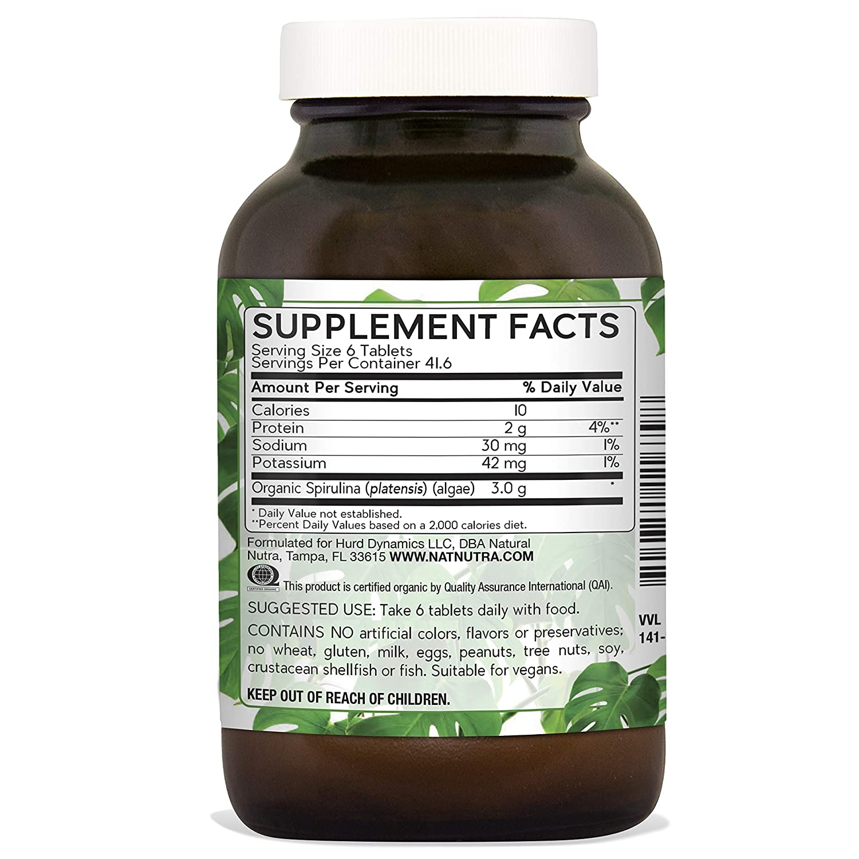 Natural Nutra 100 Usda Organic Spirulina Tablets Blue Green Algae Protein Pills With Rich Minerals