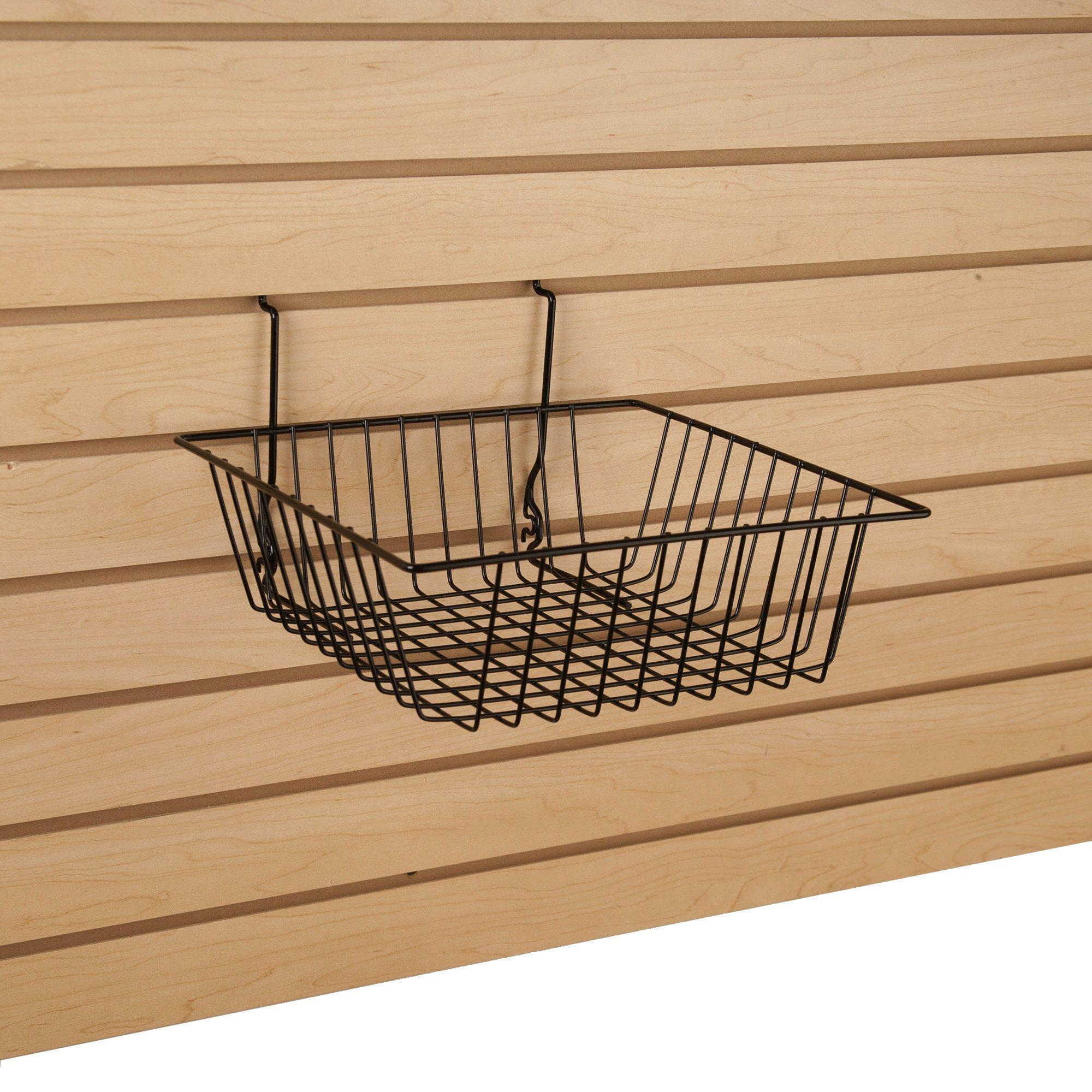 Maple Slatwall Panels Organizer Kit - Includes (2) - 24'' x 48'' Maple Slatwall Panels plus (15) - 6'' Black Slatwall Hooks and (4) 12'' x 12'' x 4'' Black Slatwall Baskets