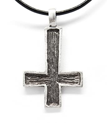 Amazon pewter st peters inverted cross pendant on leather pewter st peters inverted cross pendant on leather necklace aloadofball Images