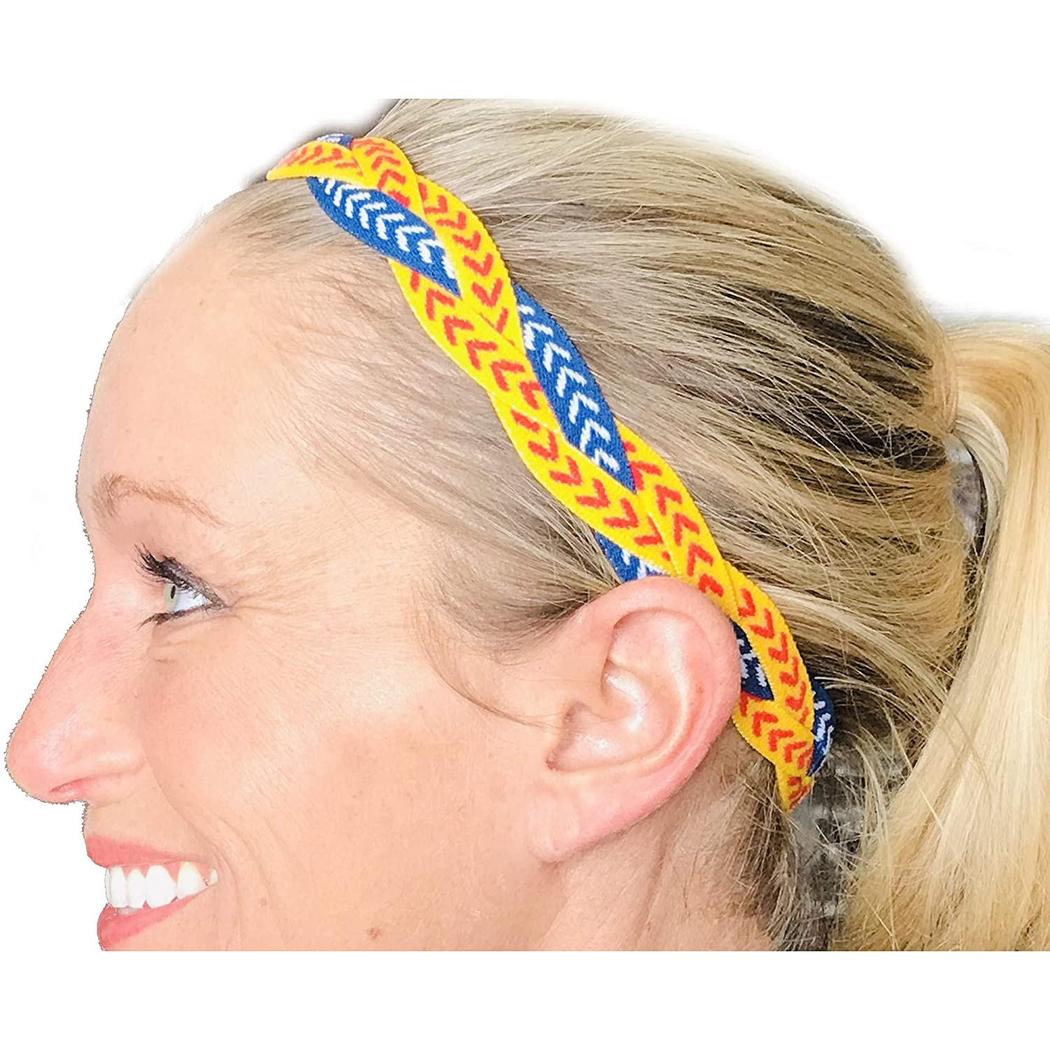 ITS RIDIC No Slip Grip//Non-Slip Sports//Athletic Nylon Triple Braided Sports Headband