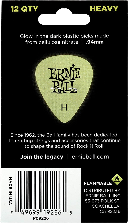 Ernie Ball Super Glow Cellulose Picks Heavy 12-pack