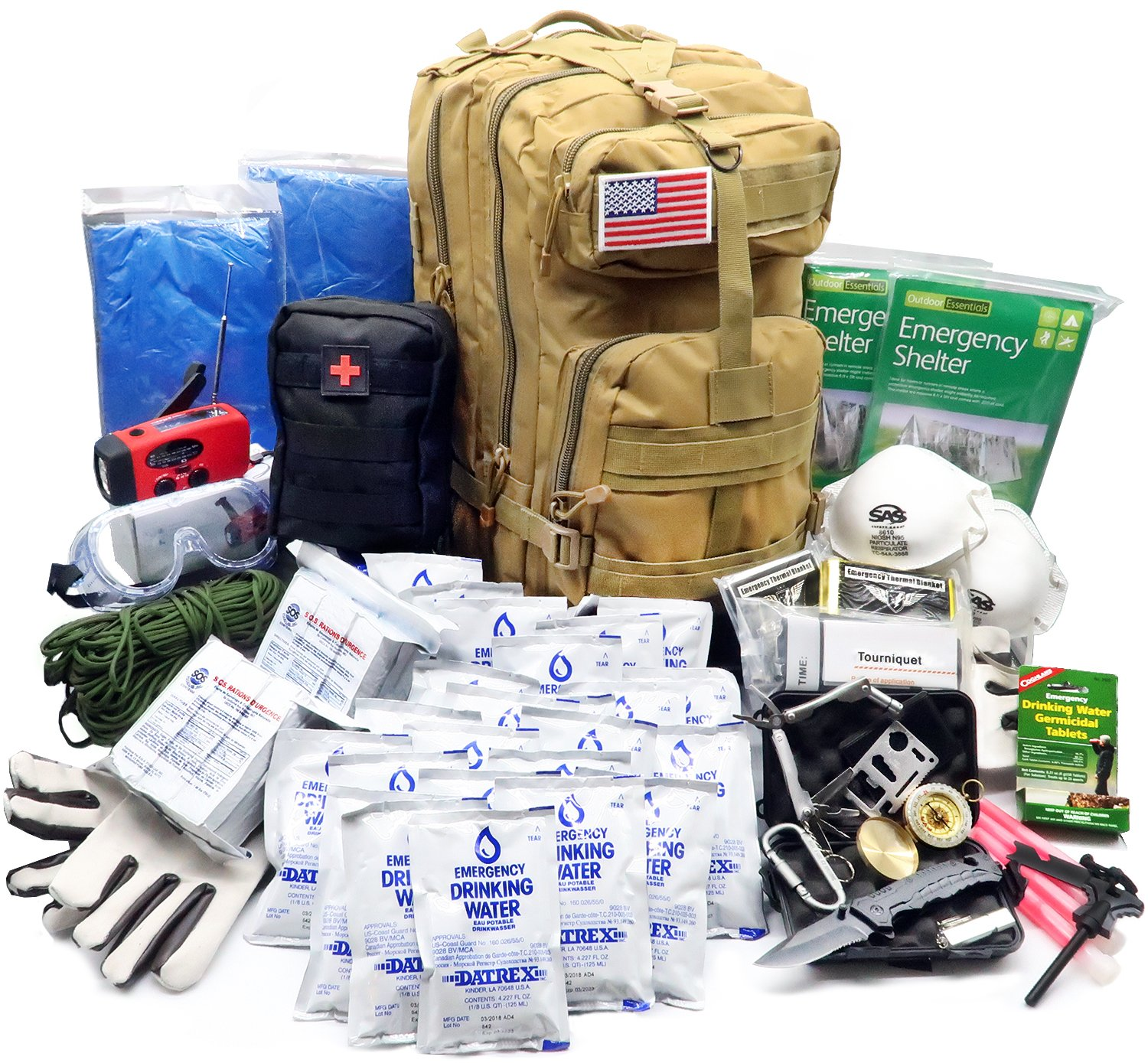 EVERLIT Earthquake Emergency Kits Survival Kit 72 Hrs 2 Person Bug Out Bag for Hurricanes, Floods, Tsunami, Other Disasters,Include Food Water, Gear, Hand-Crank Charger and More