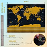 Large Scratch Off Map of The World Poster - Premium Travel Gift for Globetrotters of All Types - Scratch Map with US States
