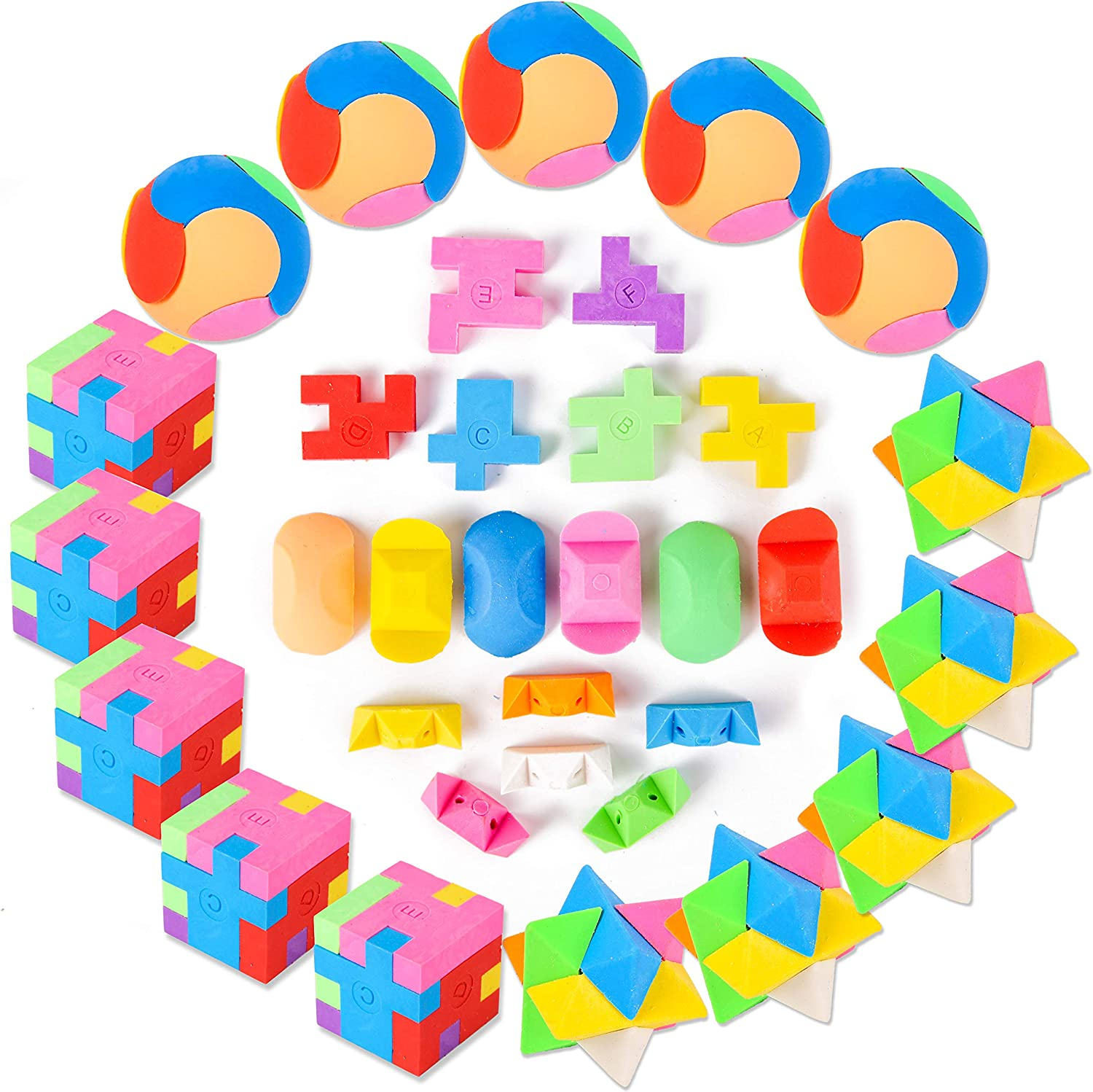 PROLOSO 15 Pcs Puzzle Cube Pencil Erasers Kids Party Favors Classroom Student Prizes Brain Teasers