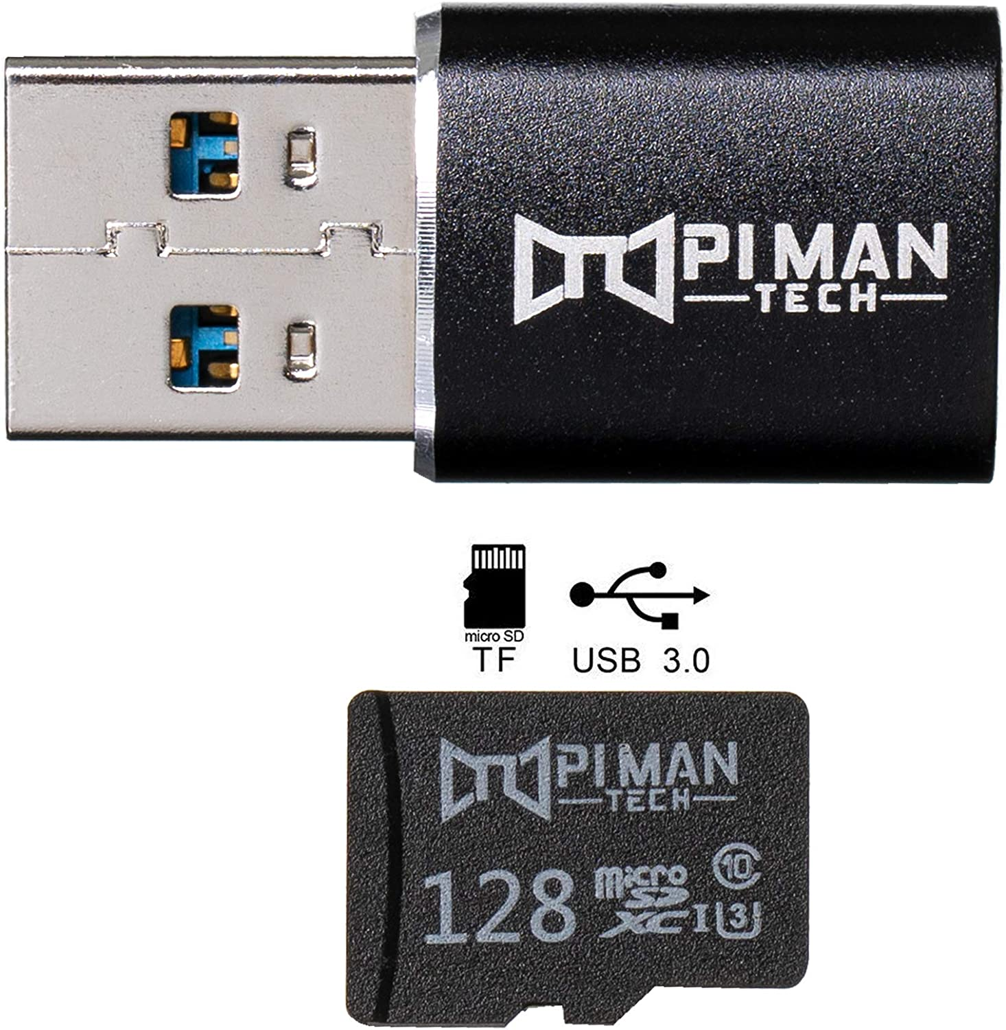 PI MAN TECH S3XY TeslaCam Preformatted Plug and Play USB 3.0 Adapter and 128 GB MicroSD Card. Fast Sentry Mode and DashCam Drive for Model S 3 X and Y.