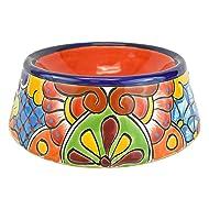 "Avera Products Talavera Round Pet Bowl Dish 10"" Hand Painted Ceramic (Red)"