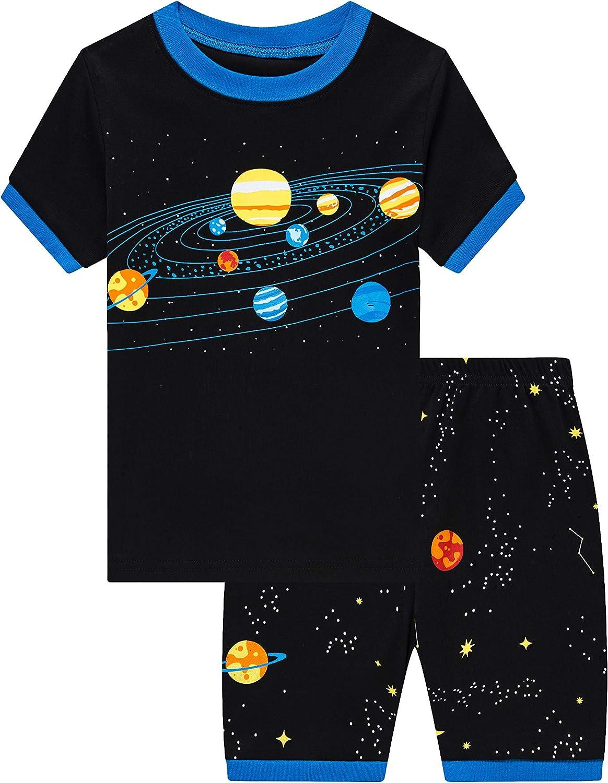 Little Boys Short Pyjamas Set Train Dinosaur Sleepwear Toddler Cotton PJS 2 Piece Outfit Nightwear for Kids 1-10 Years