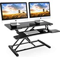 """FITUEYES Height Adjustable Standing Desk 32"""" Wide Sit to Stand Converter Stand Up Desk Tabletop Workstation for Dual Monitor Riser SD308001WB"""