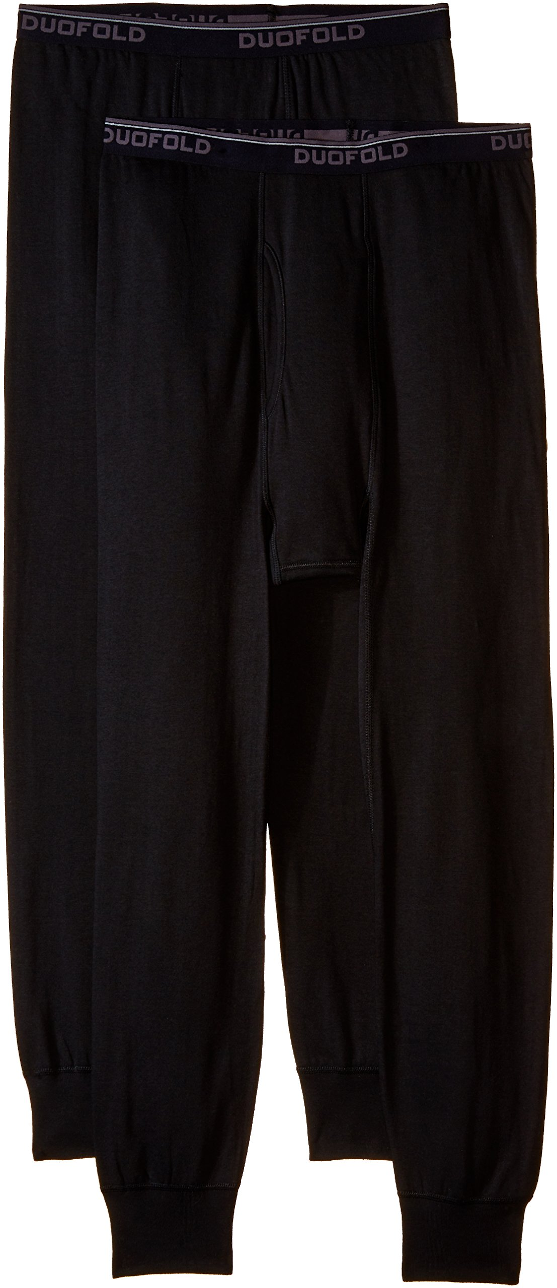Duofold Men's Mid Weight Wicking Thermal Pant (Pack of 2), Black, Large