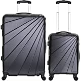 Slimbridge Fusion Set of 2 Super Lightweight 4 Wheels ABS Hard Shell Luggage Suitcase Travel Bags Trolley XL and Cabin Carry On, Black