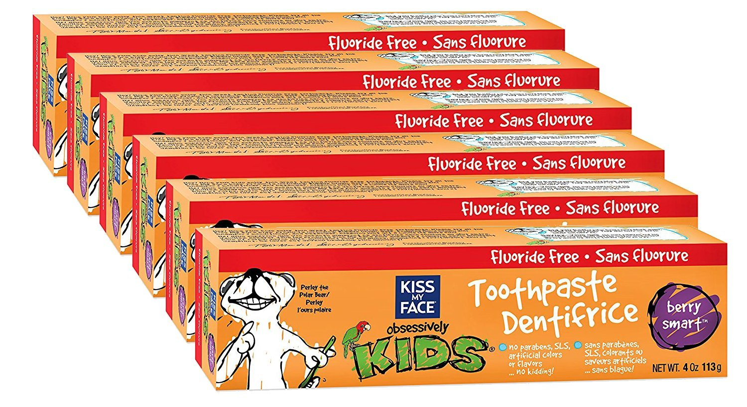 Kiss My Face Berry Smart Kids Fluoride Free Toothpaste, 113-Gram Tubes (Pack of 6) 28367835936