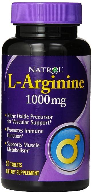 Natrol L-Arginine 1,000 mg Tablets, 50 Count