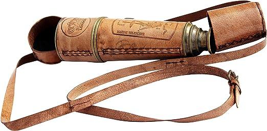 "Vintage Antique Brass Leather Spyglass Telescope 18/""~Old War Model With Cap Belt"