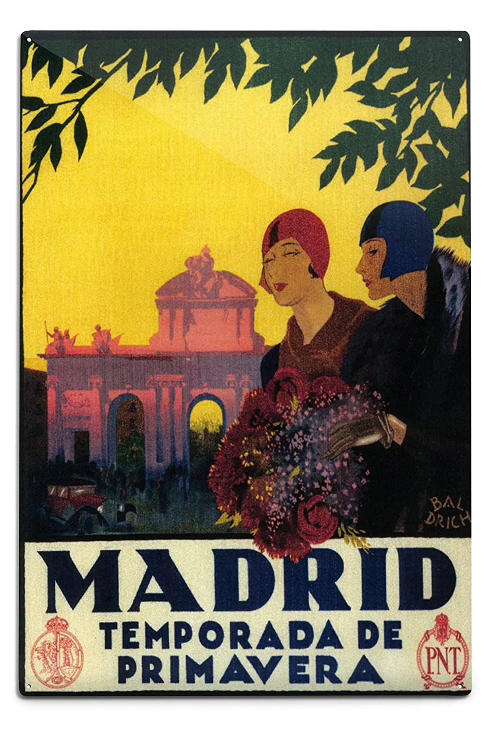 マドリード、スペイン – Madrid In Springtime旅行プロモーションポスター 12 x 18 Metal Sign LANT-8485-12x18M B06Y1FMD6B  12 x 18 Metal Sign