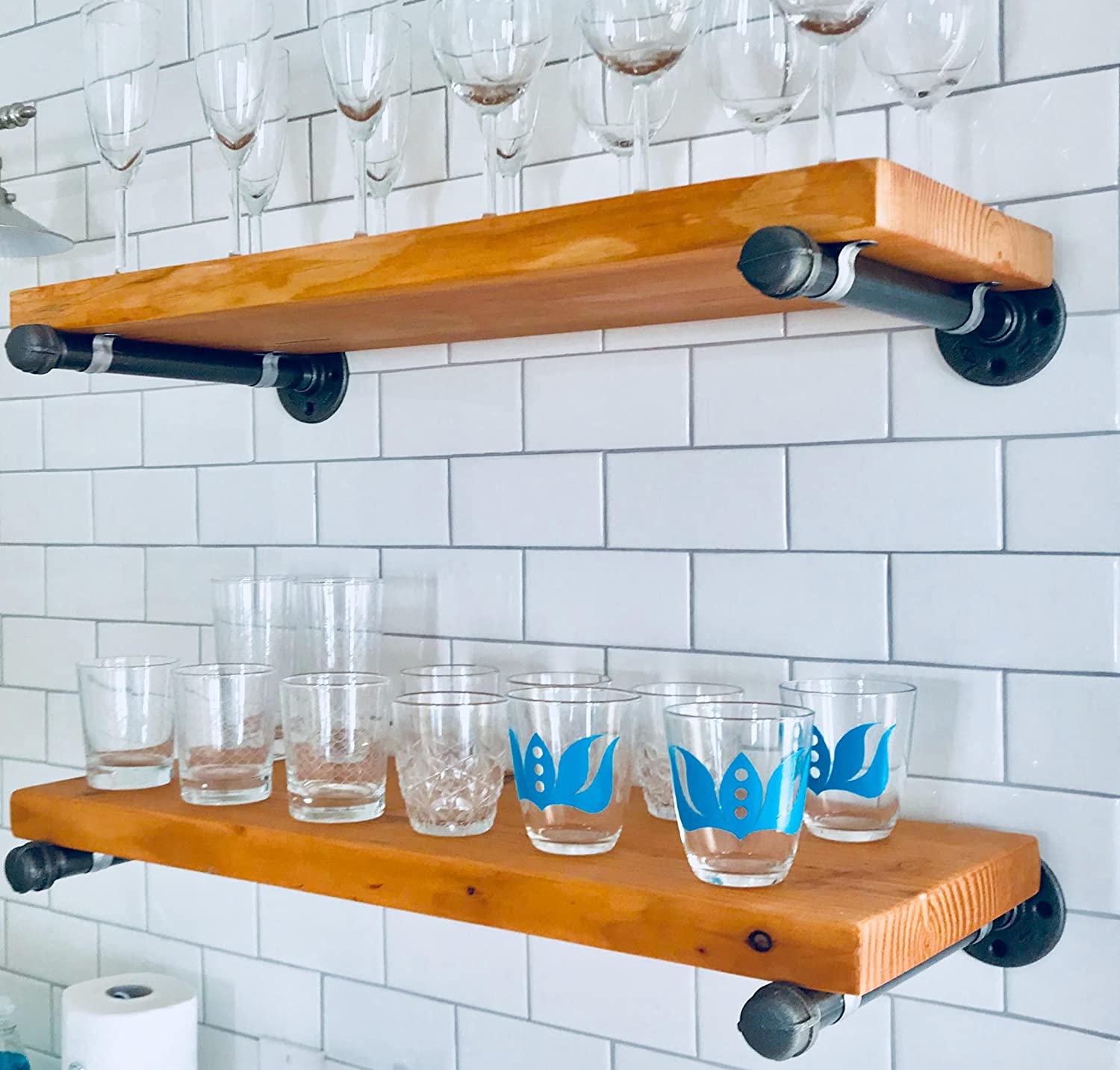 Amazon.com: Industrial Pipe Shelf Brackets by DIY Cartel - Hardware ...