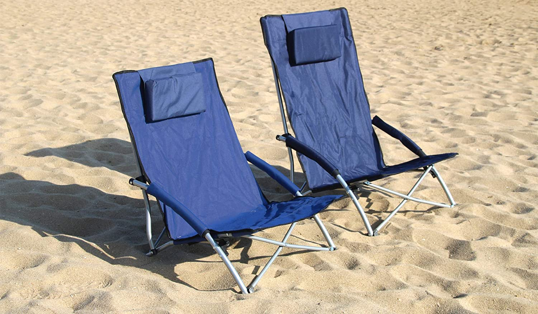 HJ HELLO JOURNEY Low Sling Beach Chair Folding Light Portable