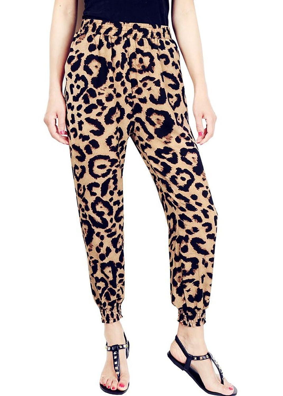 Unique-Shop Womens Leopard High Waisted Wide Leg Harem Pants ...