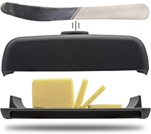 Butter Hub Butter Dish with Lid and Knife, Magnetic Butter Keeper, Easy Scoop, No Mess Lid, Plastic, Dishwasher Safe (Black)