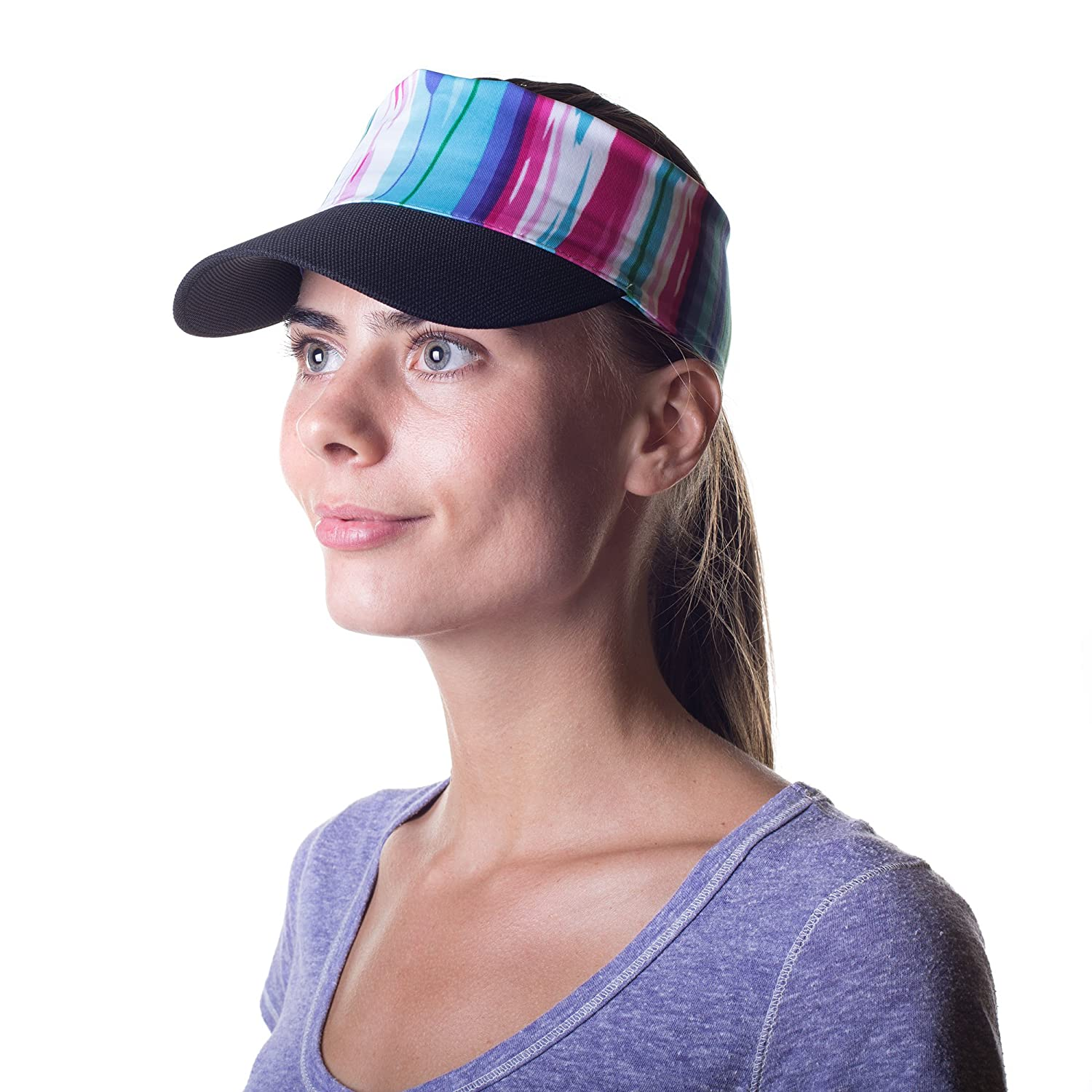 Women s Sun Visor Hat with Ponytail Hole UV Protection Shade Cap with Wide  Brim Multi-Color Head-wrap for Active Lifestyle 575e0639c3a