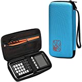BOVKE Hard Graphing Calculator Carrying Case for Texas Instruments TI-84 Plus CE/TI-83 Plus CE/Casio fx-9750GII, Extra Zipped Pocket for USB Cables, Manual, Pencil, Ruler and Other Items, Blue