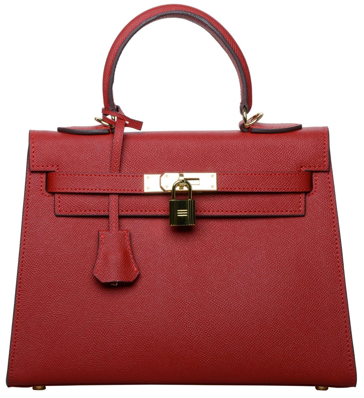 Women's Padlock Handbag Genuine Leather Taiga Top Handle Satchel Bag Cherish Kiss (28CM, Red)
