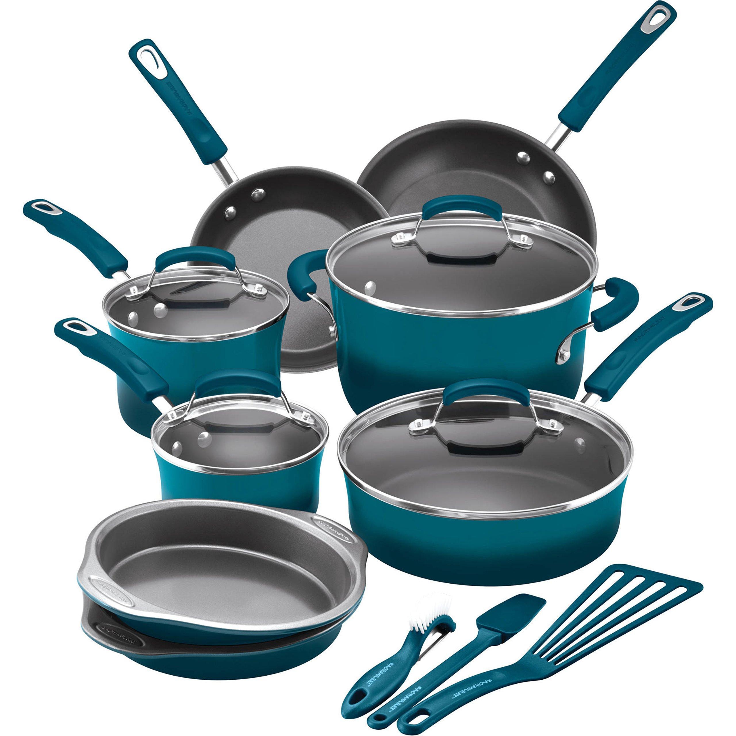15-Piece Durable Aluminum Construction Shatter Resistant Blue Nonstick Cookware Set