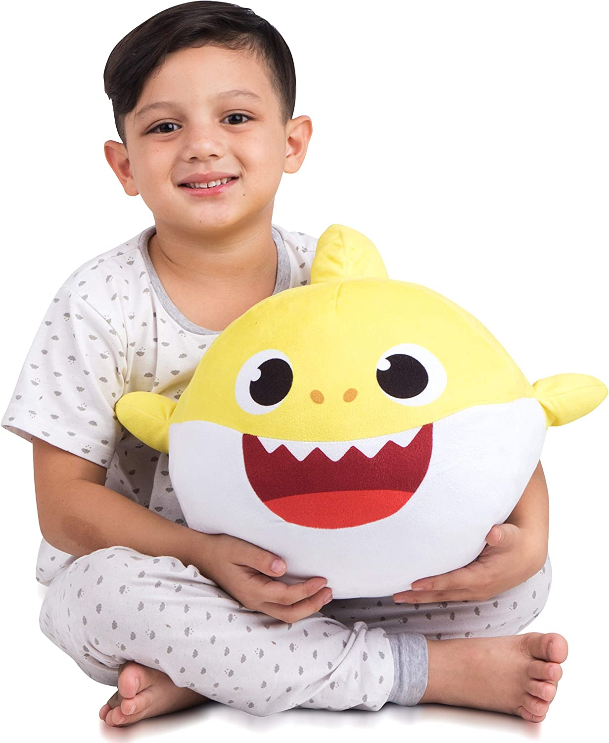 Franco Kids Bedding Super Soft Plush Snuggle Cuddle Pillow, One Size, Baby Shark Yellow