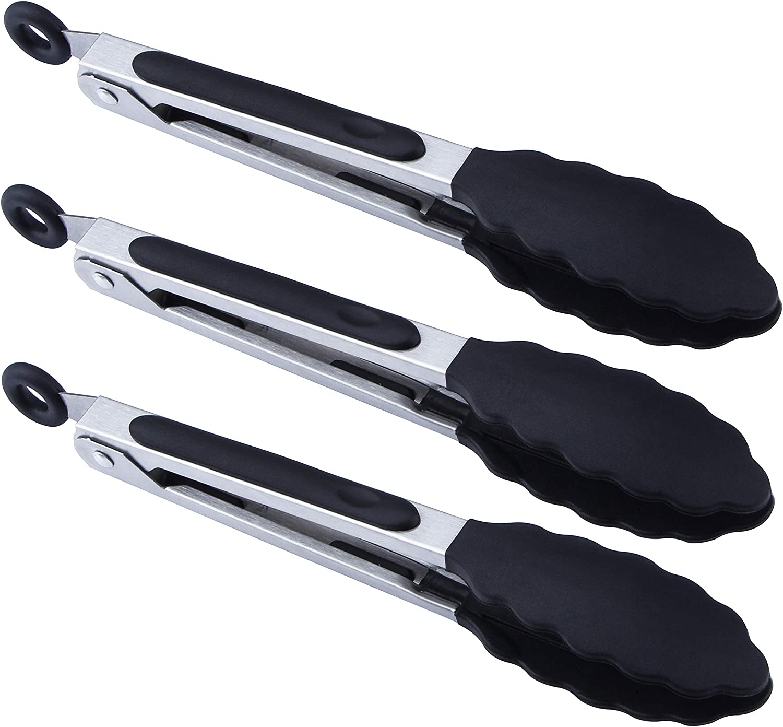 "BIGSUNNY 7"" Mini Silicone Serving Tongs - Set of 3 (black)"