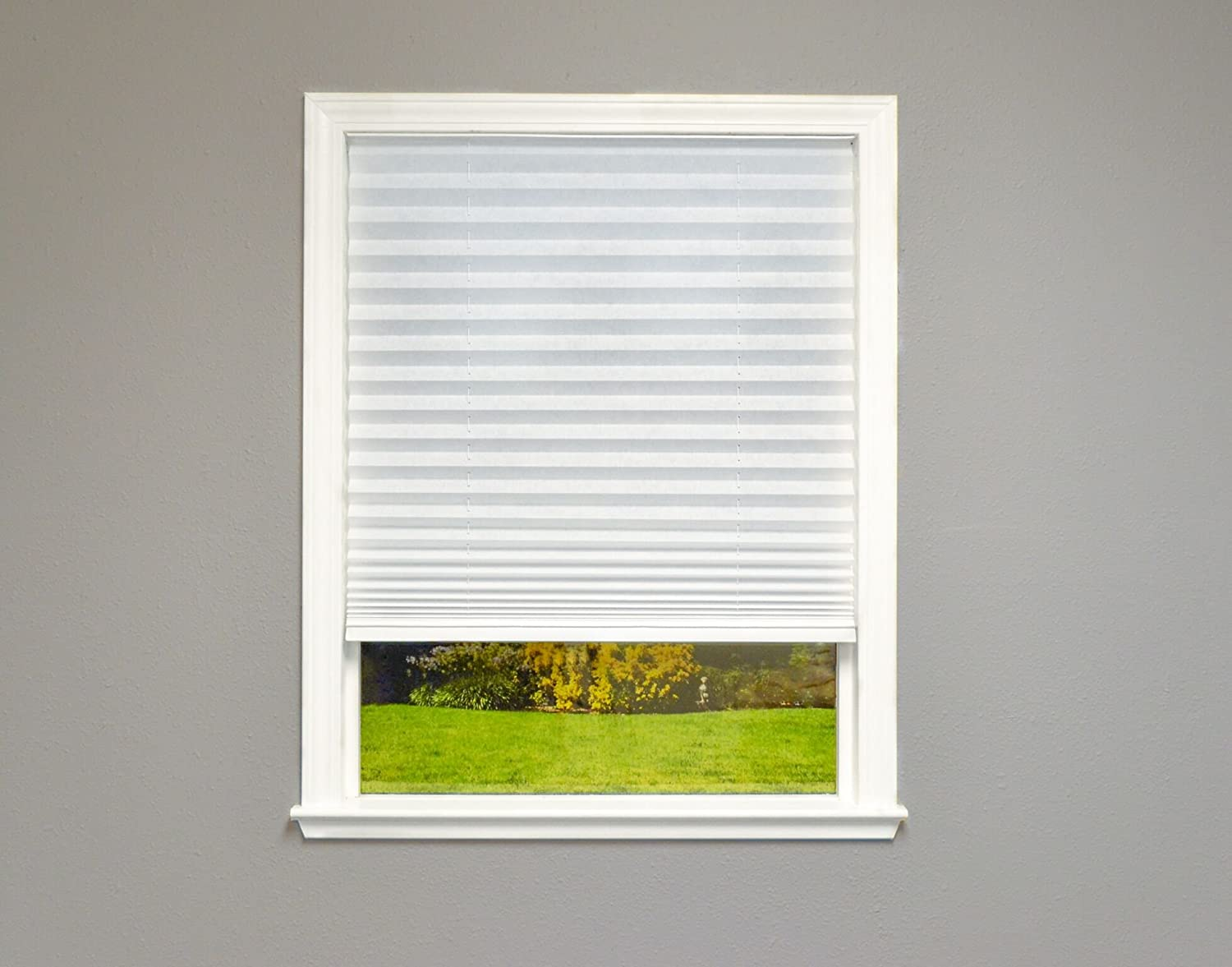 Easy Lift Trim-At-Home Cordless Pleated Light Filtering Fabric White, 36 x 64-Inch, (Fits windows 19-36) Redi Shade Inc. 750227506068