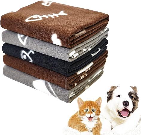 Kitten Medium Large Dog Grey Cat Fluffy Warm Dog Bed Cover Paw Print Fleece Pet Blanket for Small Other Animals Black Puppy softan Dog Blanket