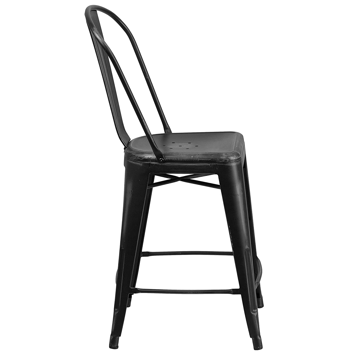 Black Flash Furniture High Distressed Metal Indoor Counter Height Stool 24