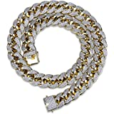 TOPGRILLZ 18mm 14K Gold Plated Full Iced Out Zircon Lab Diamond Big Dog Miami Mens Cuban Choker Link Chain Necklace