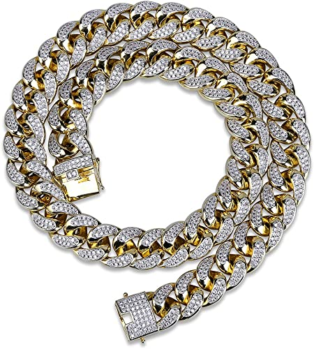 Iced Out Miami Cuban Link Chain 1 Row Tennis Chain Prong Set 14K Gold Plated