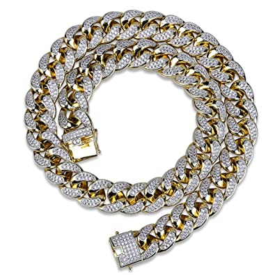 345fb3e7184c3 TOPGRILLZ 18mm 14K Gold Plated Full Iced Out Zircon Lab Diamond Big Dog  Miami Mens Cuban Choker Link Chain Necklace