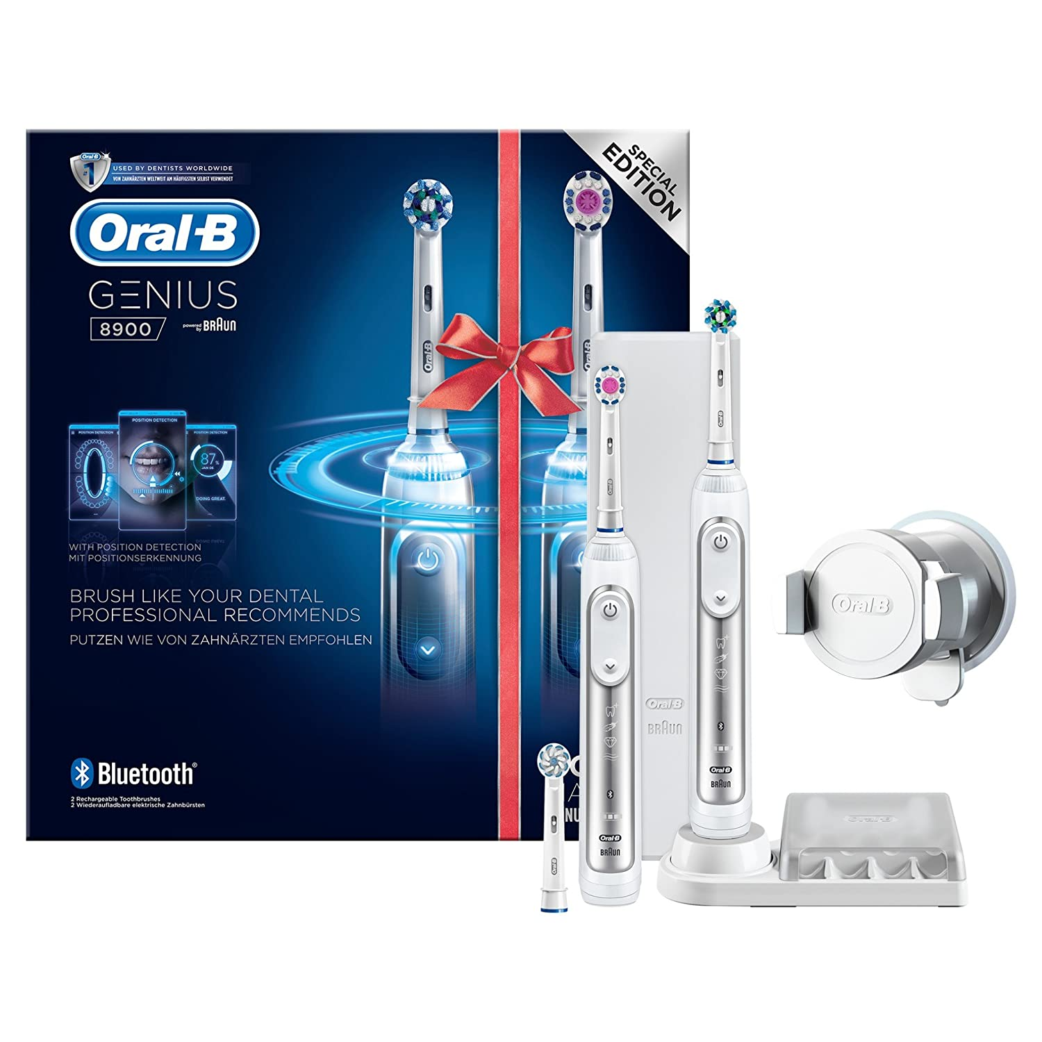 Details about Oral B Genius 8900 Set of 2 Electric Rechargeable Toothbrushes App Connected