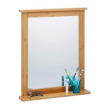 Relaxdays Miroir mural avec cadre en bambou pour salle de bain salon ...