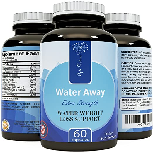 Water Away Diuretic Supplement with Dandelion Leaf – Bloat Relief Pills Weight Loss Relieve Swelling Water Retention – Natural Green Tea Extract Potassium Vitamin B6 for Men & Women – Huntington Labs