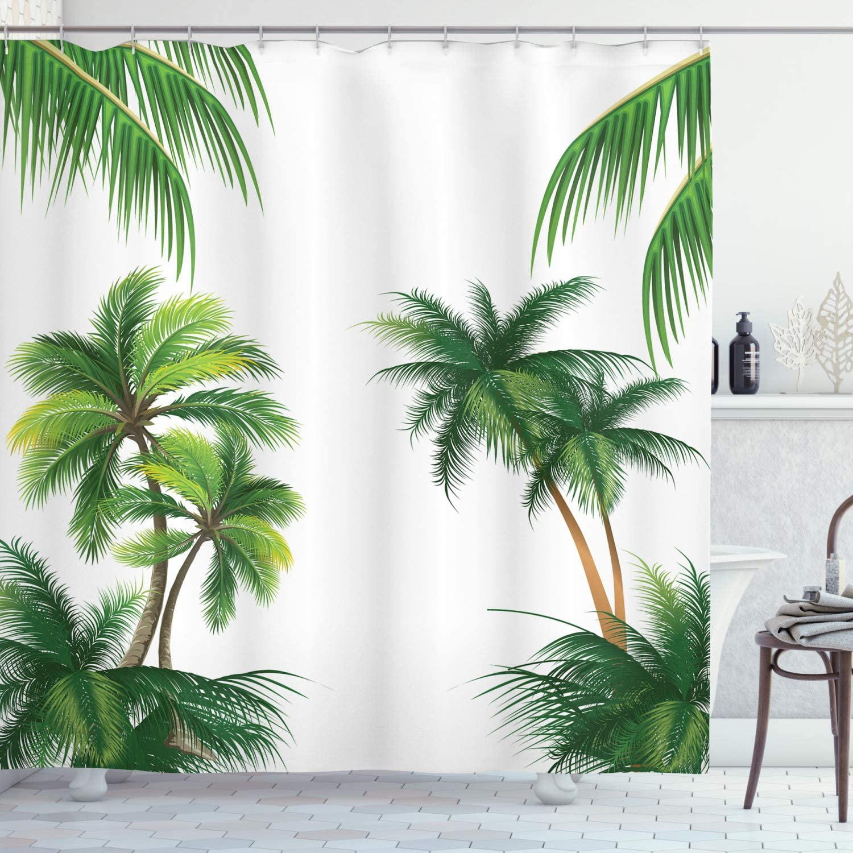 Ambesonne Tropical Shower Curtain, Coconut Palm Tree Nature Paradise Plants  Foliage Leaves Digital Illustration, Cloth Fabric Bathroom Decor Set with