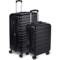 AmazonBasics Hardside Spinner, Carry-On, Expandable Suitcase Luggage with Wheels, Black - 2-Piece Set