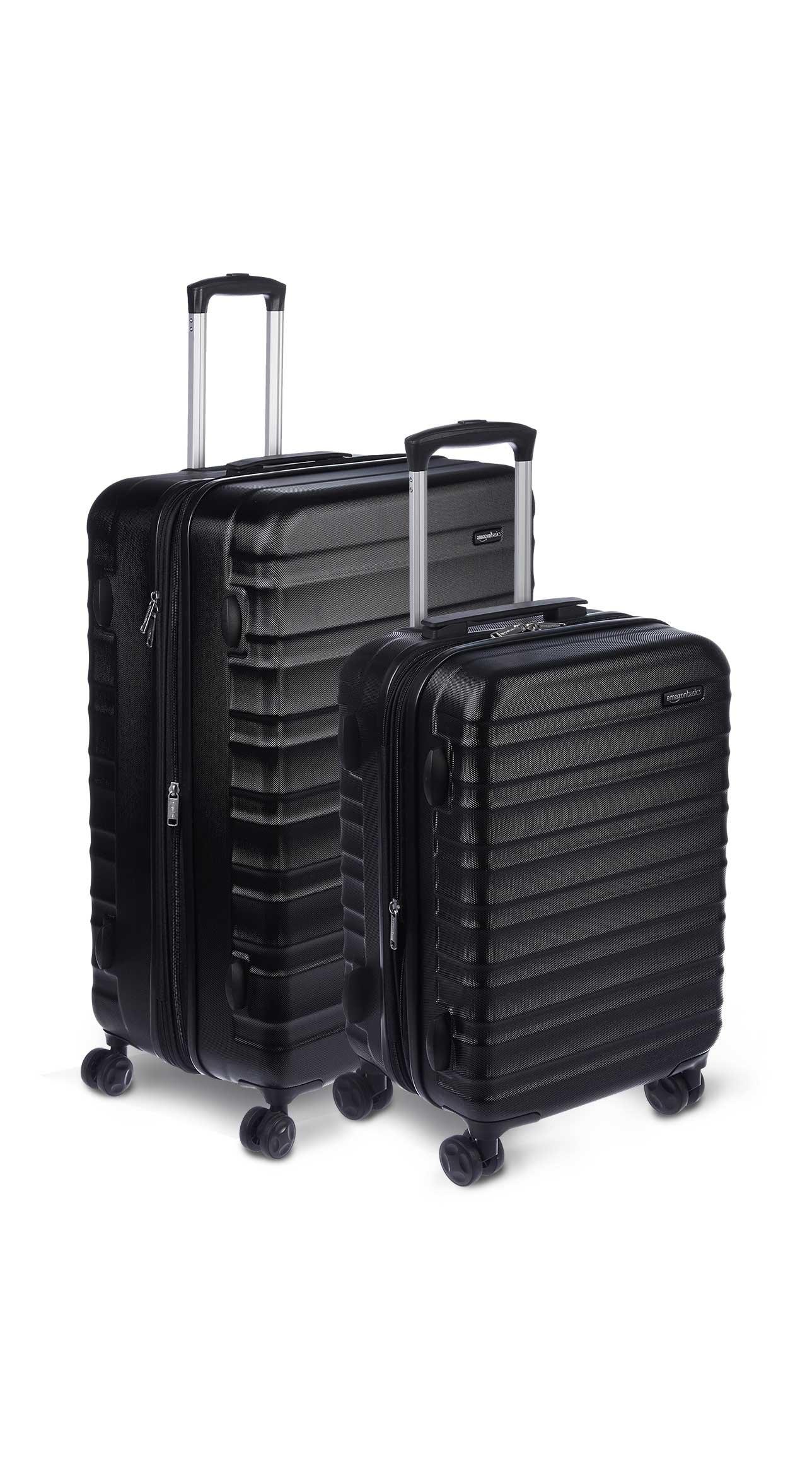 AmazonBasics 2 Piece Hardside Spinner Travel Luggage Suitcase Set - Black by AmazonBasics