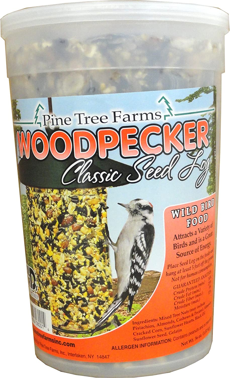 Pine Tree 8001 Woodpecker Classic Seed Log, 36-Ounce