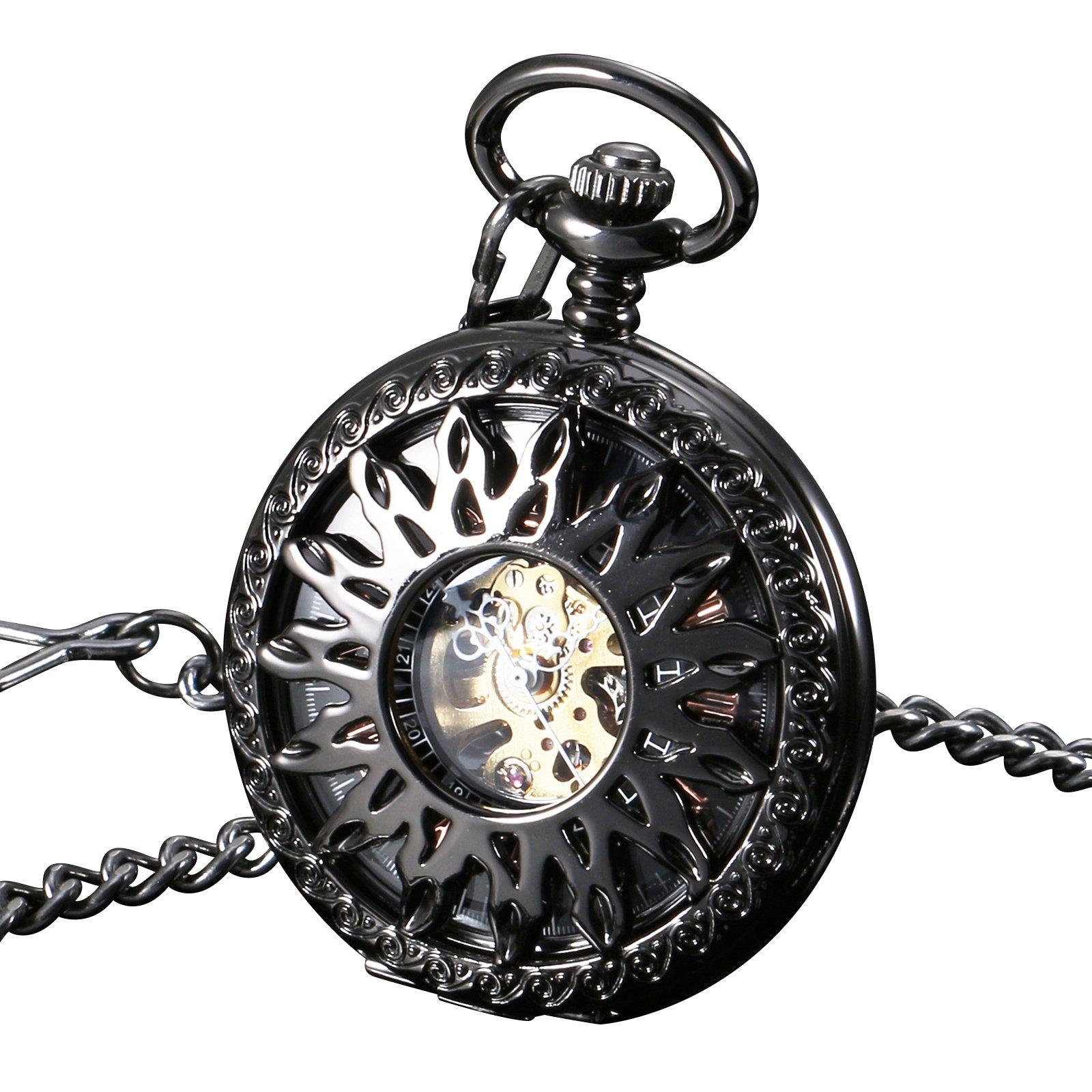 ESS Black Case Half Hunter Pocket Watch Gold Stainless Steel Case Mens Pendant
