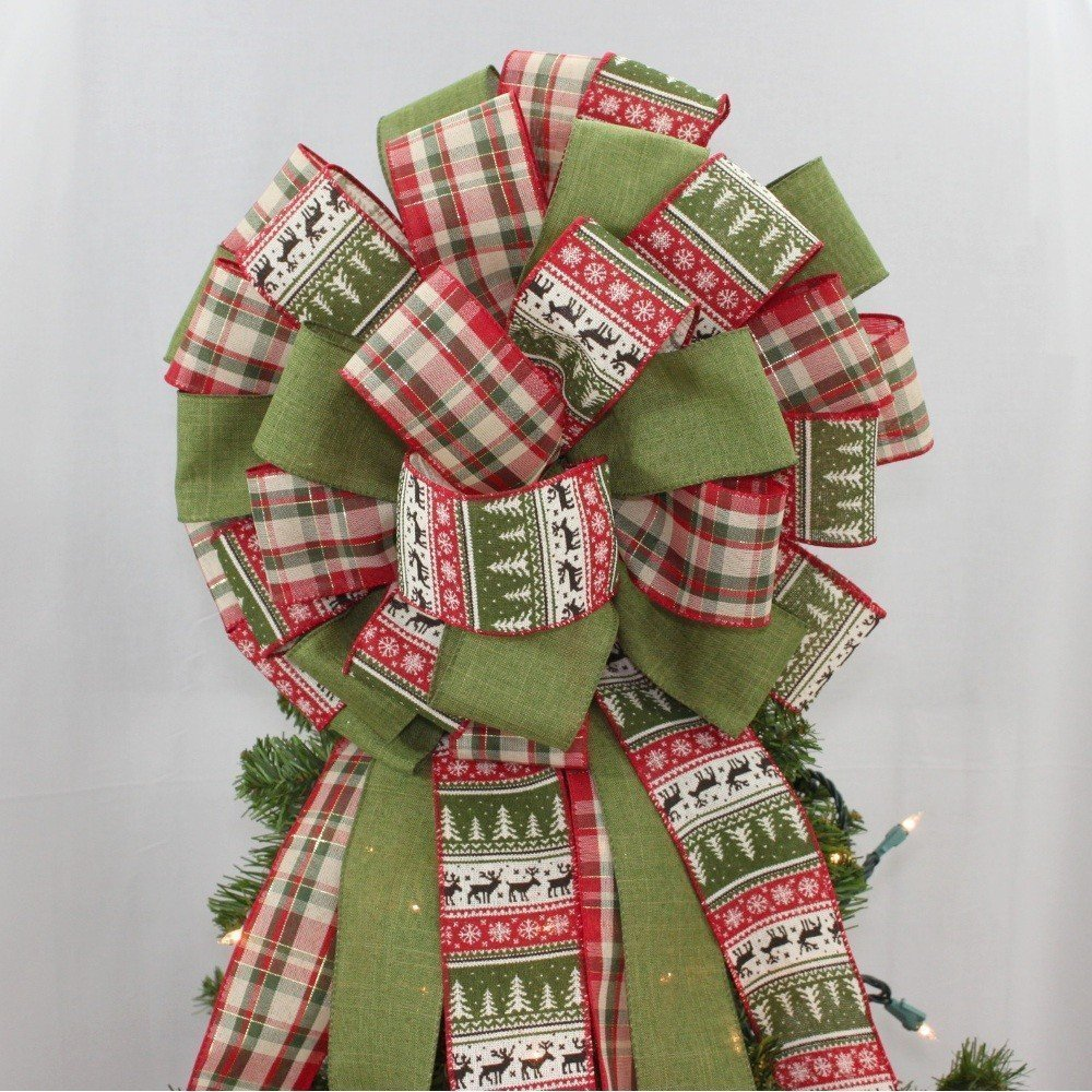 Holiday Sweater Plaid Christmas Tree Topper Bow - 14