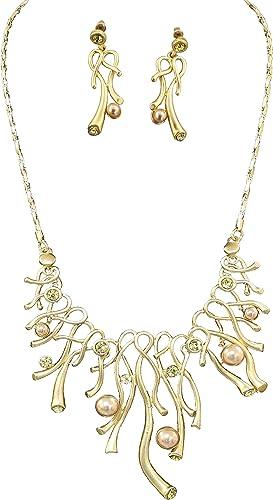 Fashion Jewelry Set Crystal Rhinestone 18k Gold Plated Dangle Earrings+Necklace