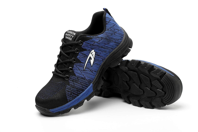Aizeroth-UK Hombre Mujer Zapatillas de Seguridad con Punta de Acero Antideslizante TranspirableS3 Zapatos de Trabajo Comodas Calzado de Trabajo Deportivos ...