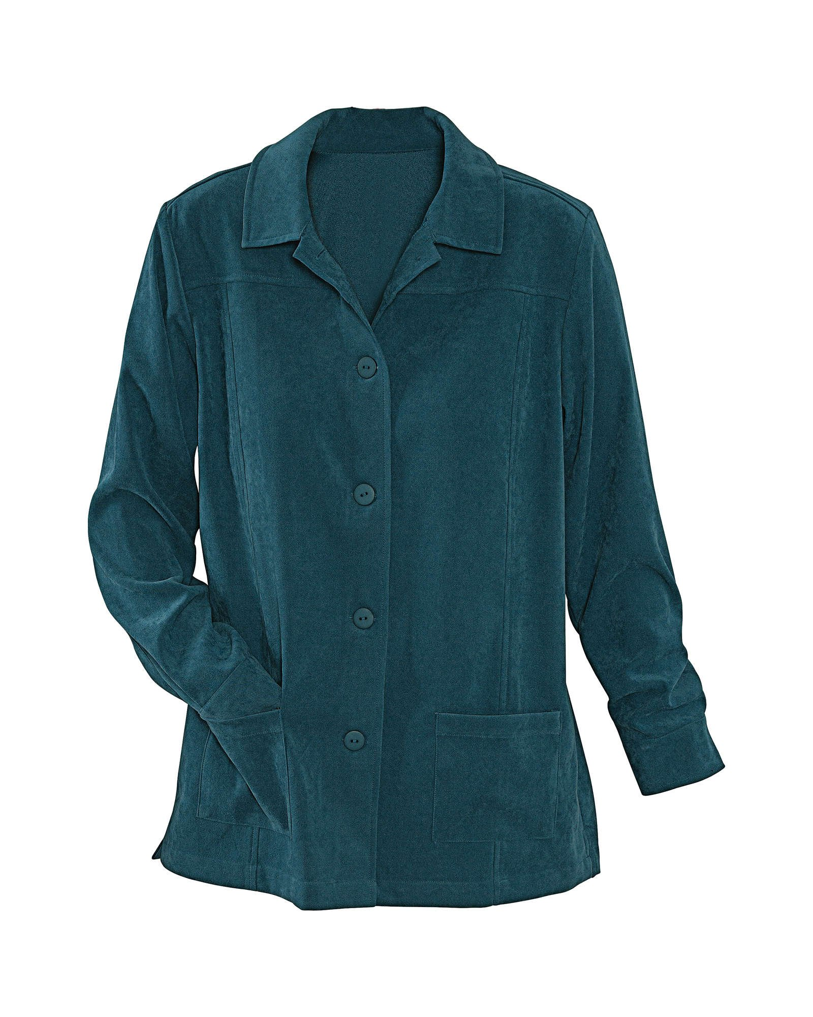 National Faux Suede Shirt Jacket, Dark Teal, Medium