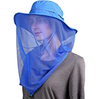 Flammi Mosquito Head Net Hat Outdoor UPF 50+ Sun Hat with Mesh Face Neck Mask Protection from Insect Bug Bee Gnats Bucket Boonie Hat Cap for Fishing Hiking Gardening